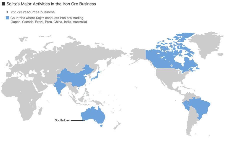 Iron Ore Business Sojitz Corporation - Ore map